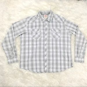 Levis 2XL Plaid Snap Front Long Sleeve Dress Shirt